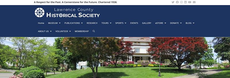 screenshot of lawrence county history society com site