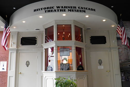 photo of ticket booth at the historic warner cascade theatre museum
