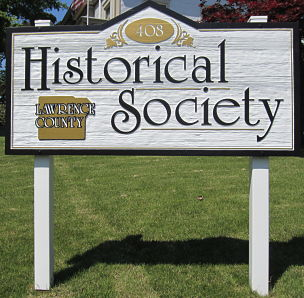 photo of sign for the lawrence county historical society