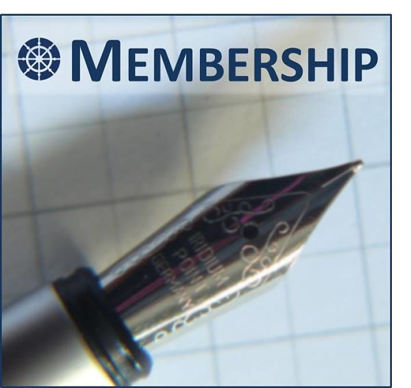 logo for membership has a pen resting on a sheet of grid paper