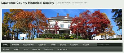 screenshot of historical society homepage