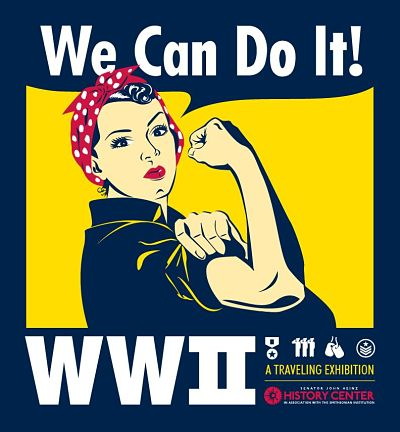 photo of wwii icon rosie the riveter with the saying we can do it