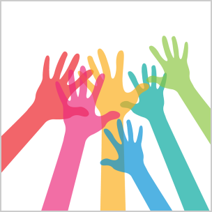 image of raised hands volunteering